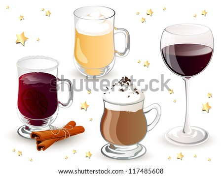 Vector Illustration of Christmas Drinks