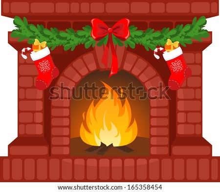 Vector Illustration Of Christmas Fireplace Stock