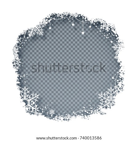 Vector illustration of Christmas frame with snowflakes with shadow on transparency background.