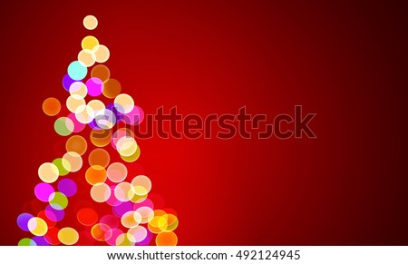 vector illustration of christmas lights on tree, out of focus with copy space stock photo
