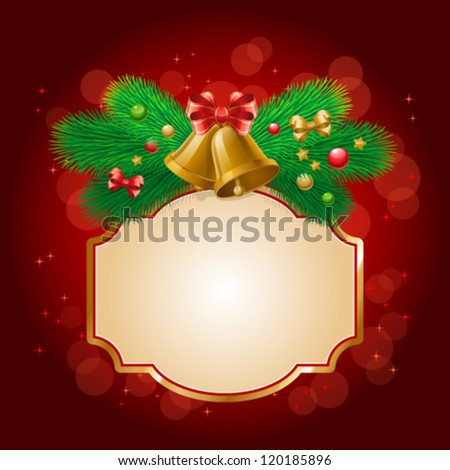 Vector illustration of Christmas/New Year decor: bells, tree, balls, bows. Colorful background with frame for your design of greeting cards, invitations, congratulations