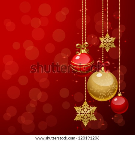 Vector illustration of Christmas/New Year decor: tree, balls, bows, snowflakes. Colorful background for your design of greeting cards, invitations, congratulations