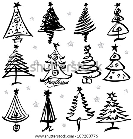 Vector illustration of Christmas tree design set.