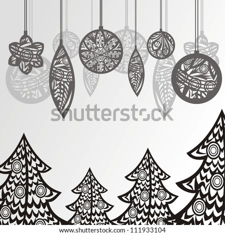 Vector illustration of christmas tree pattern present ball black and white