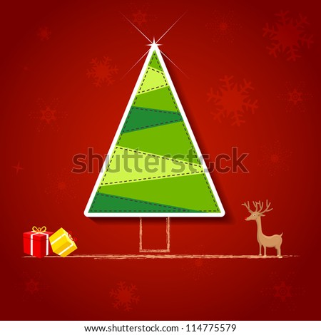 vector illustration of Christmas tree with reindeer and gift