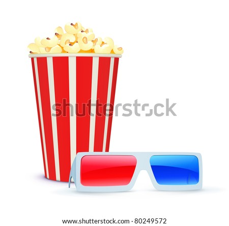 Vector illustration of cinema background with 3D glasses and popcorn