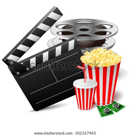 Vector illustration of cinema clap with film reels, popcorn and drink