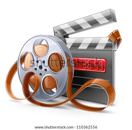 Vector illustration of cinema theme on light background