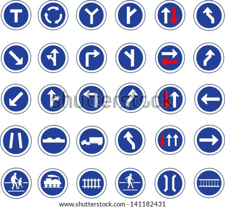 Vector illustration of circle blue road signs - stock vector