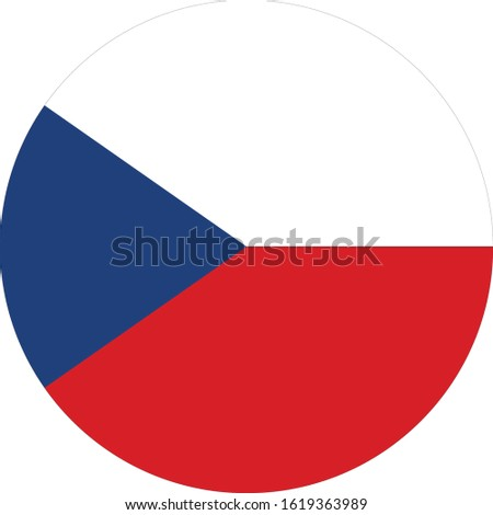 vector illustration of Circle flag of Czech Republic on white background Stock photo ©