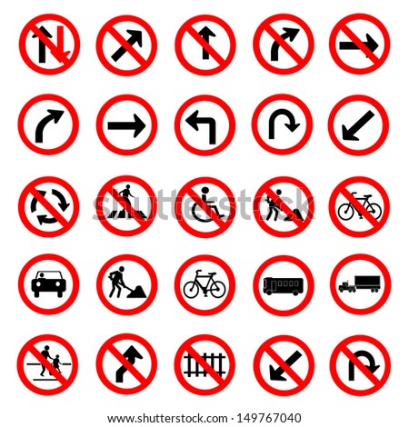 Vector illustration of circle red road signs collection