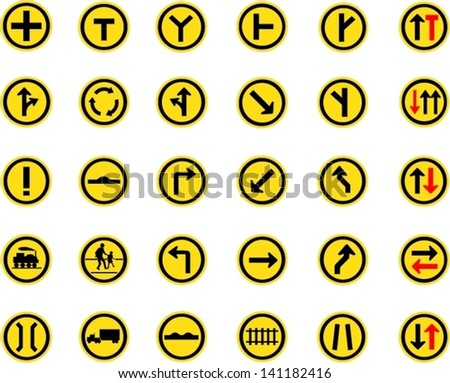 Vector illustration of circle yellow road signs