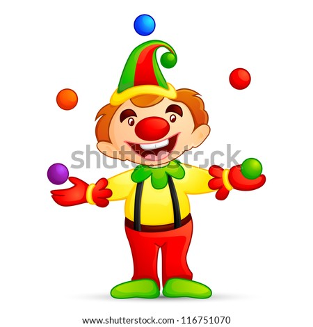 vector illustration of circus joker juggling with ball