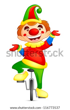 vector illustration of circus joker on cycle