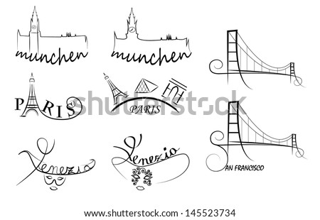 vector illustration of cities symbols: paris, munich, venice, san francisco city logo ストックフォト ©
