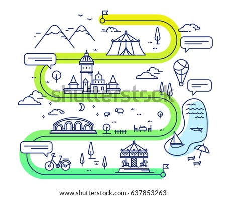 Vector illustration of city children entertainment navigation. Infographic route concept. Road map with countryside lake, mountain, attraction, fairytale castle. Thin line art design for web, site