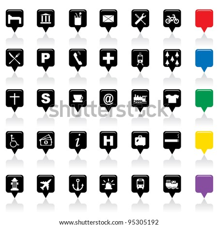 Vector illustration of city map icons,