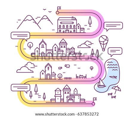 Vector illustration of city navigation with speech bubble. Infographic route concept. Road map with buildings and countryside lake, mountain, restaurant, hotel. Thin line art design for web, site