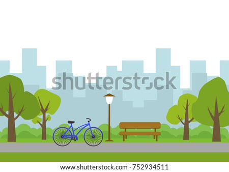 Vector illustration of city park.