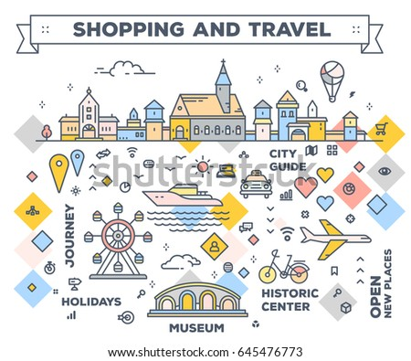 Vector illustration of city with entertainment objects. Infographic route concept with navigation elements. Shopping and travel road map. Thin line art design for web, site, poster