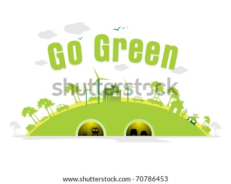 vector illustration of cityscape concept background for go green