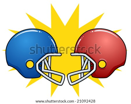 vector illustration of clashing football helmets.... perfect for the big game!