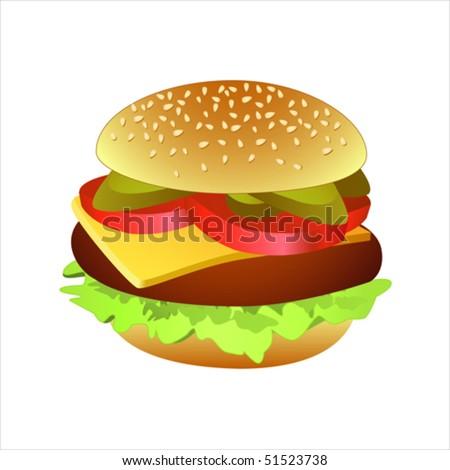 Vector illustration of classic cheeseburger.
