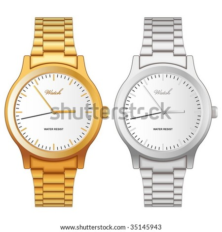 Vector illustration of classic golden and steel wristwatch isolated on white background.