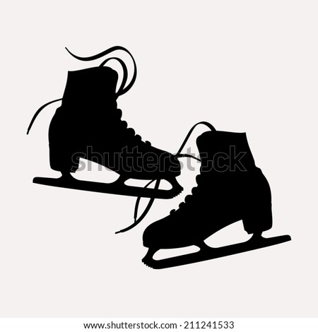 Vector illustration of classic ice skates for ladies black silhouettes | Pair of ice skates silhouettes isolated