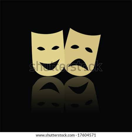 Vector illustration of classic theater happy and sad masks, reflected on black background. For jpeg version, please see my portfolio.
