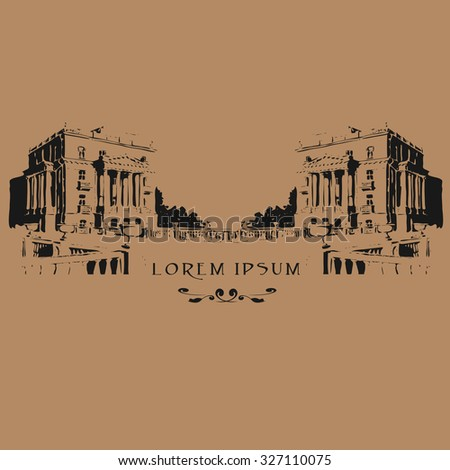 Vector illustration of classical facade with place for your text