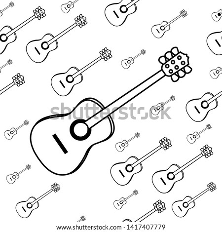 Vector illustration of classical guitar. Classical guitar isolated with white background