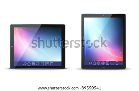 Vector illustration of classy tablet PC in horizontal and vertical view with icons on a toolbar
