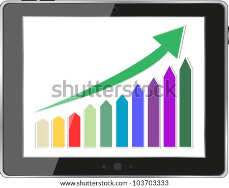 Vector illustration of classy tablet PC with business concept