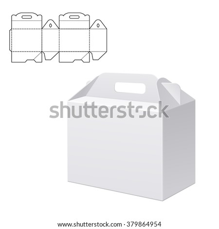 Vector Illustration of Clear Folding Carton Box with diecut for Design, Website, Background, Banner. White Handle Package Template isolated on white. Retail pack with dieline for your brand on it