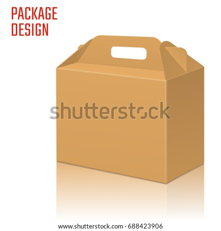 Vector Illustration of Clear Gift Carton Box for Design, Website, Background, Banner. Package Template isolated on white. Retail pack with for your brand on it