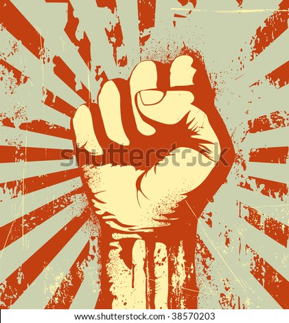 Vector illustration of clenched fist held high in protest on the red grunge urban background