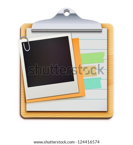 Vector illustration of clipboard with blank retro polaroid photo frame isolated on white background