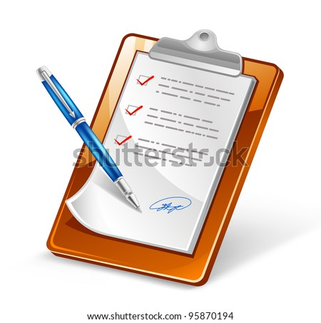 Vector illustration of clipboard with pen on white background - stock vector