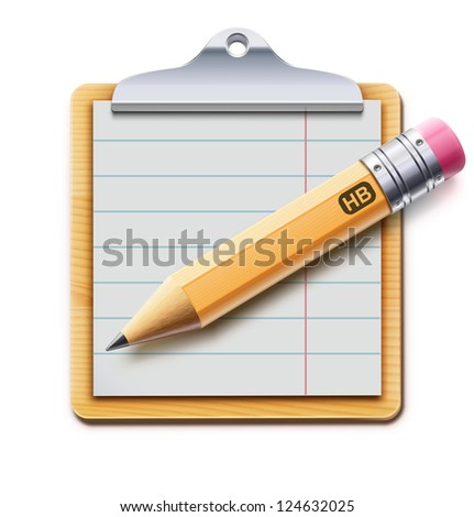 Vector illustration of clipboard with sharpened detailed pencil isolated on white background