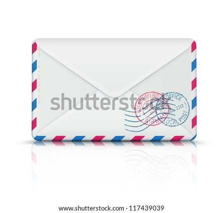 Vector illustration of close airmail envelope with rubber stamps