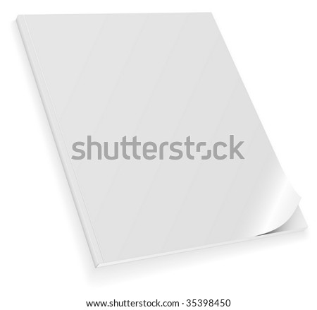 Vector illustration of closed blank magazine with curled cover isolated on white background.