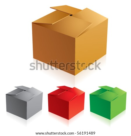 Vector illustration of closed color cardboard boxes with bottom.
