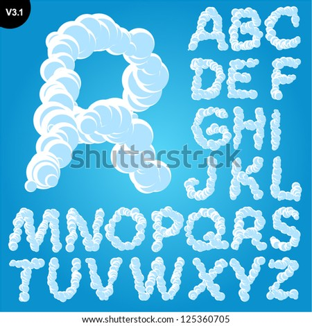 Vector illustration of cloud alphabet on a blue sky background. Freehand font Uppercase