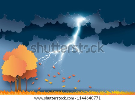 Vector illustration of Cloud and rain on dark background. Thunderbolt, thunder.  Rainy season, paper cut and craft style. Autumn leaves and tree. Defoliation