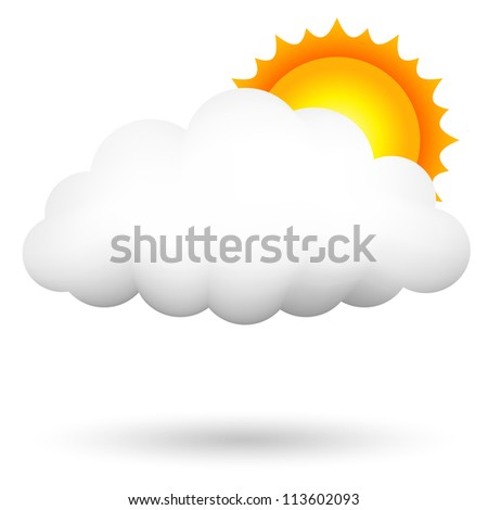 Vector illustration of cloud and sun