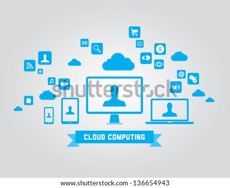 Vector illustration of cloud computing technology concept with abstract icons and design elements. Isolated on gray background
