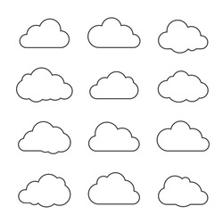 Vector illustration of clouds collection. Thin lines icons.