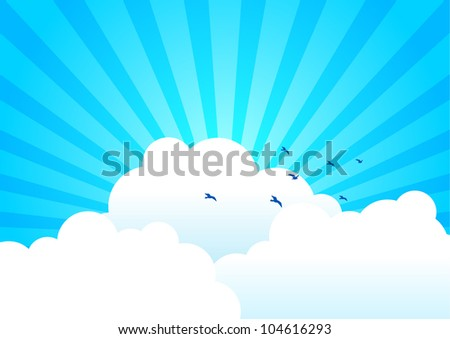 Vector illustration of clouds with light burst as the background
