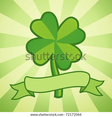 Vector illustration of clover with four leaves and ribbon